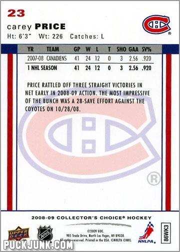2008-09 Collector's Choice #23 - Carey Price (back)