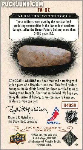 2008-09 Champ's Hockey card #FA-NE - Neolithic Stone Tools