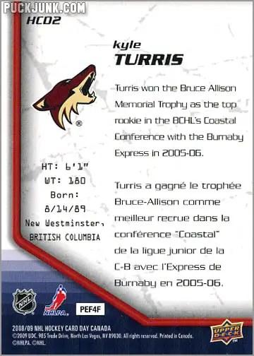 2009 National Hockey Card Day #2 - Kyle Turris (back)
