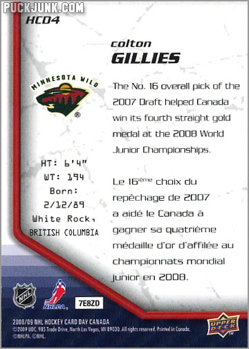 2009 National Hockey Card Day #4 - Colton Gillies (back)