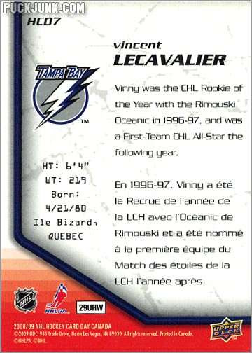 2009 National Hockey Card Day #7 - Vincent Lecavalier (back)