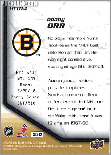 2009 National Hockey Card Day #14 - Bobby Orr (back)