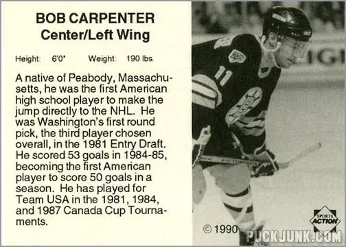 1990-91 Boston Bruins Bob Carpenter (back)