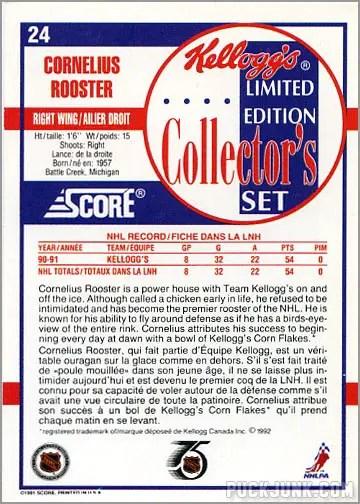 1991-92 Kellogg's Card #24 - Cornelius Rooster
