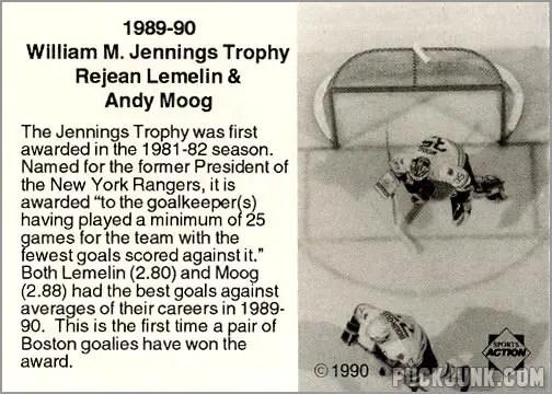 1990-91 Boston Bruins Jennings Tropy Winners (back)