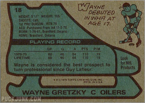 1979-80 Topps #18 - Wayne Gretzky (back)