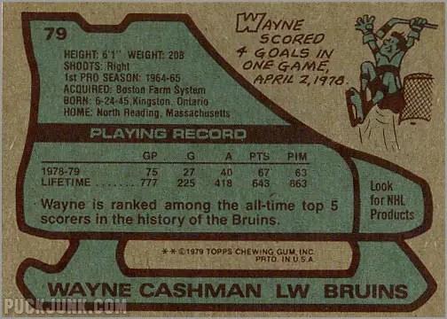 1979-80 Topps #79 - Wayne Cashman (back)
