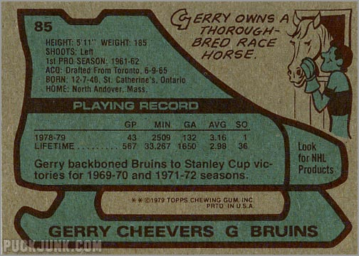 1979-80 Topps #85 - Gerry Cheevers (back)