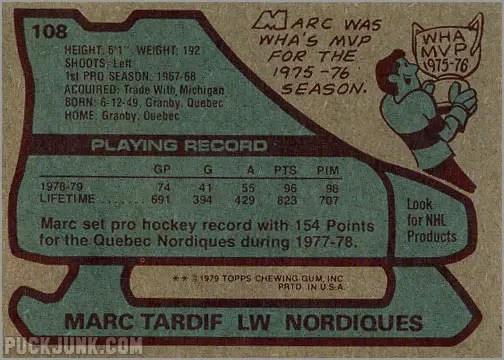 1979-80 Topps #108 Marc Tardif (back)