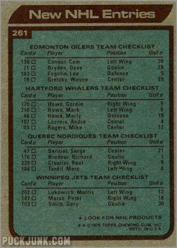 1979-80 Topps #261 - New NHL Entries (back)