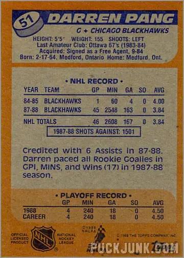 1988-89 Topps #51 - Darren Pang (back)