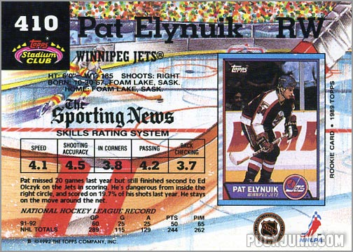 1992-93 Topps Stadium Club card #410 - Pat Elynuik