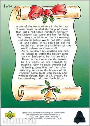 1992 Upper Deck Christmas card #1 of 10 - Santa's New Sleigh