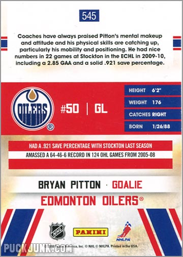 2010-11 Score card #545 - Bryan Pitton
