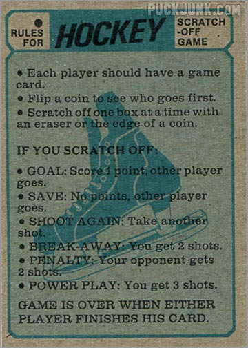 1974-75 Topps Hockey Scratch-Off Game card