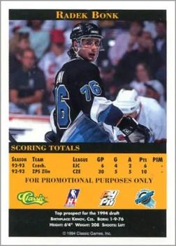 1993-94 Classic Pro Prospects Radek Bonk promo (back)