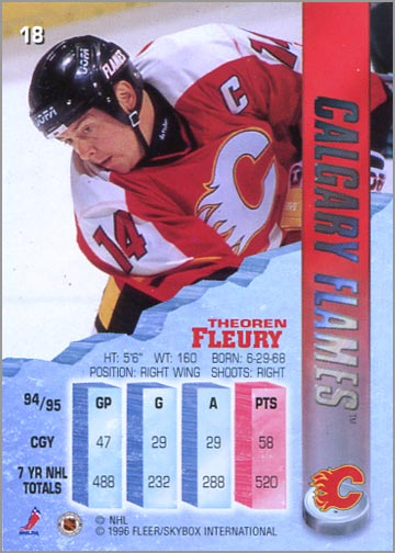 1995-96 Fleer Metal Theoren Fleury (real)