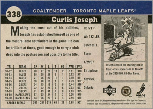 2000-01 Upper Deck Vintage Curtis Joseph card back