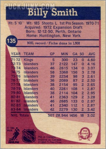 1984-85 OPC #135 - Billy Smith (back)