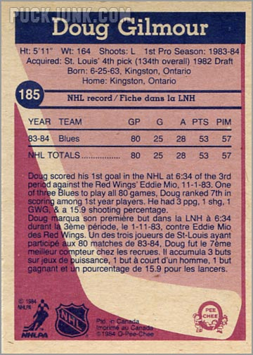 1984-85 OPC #185 - Doug Gilmour (back)