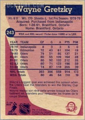 1984-85 OPC #243 - Wayne Gretzky (back)