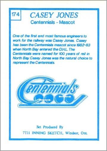 1989-90 7th Inning Sketch OHL card # 174 - Casey Jones