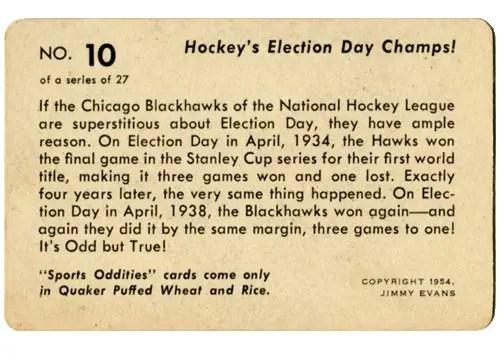 1954 Quaker Oats Sports Oddities card #10 - Chicago Blackhawks
