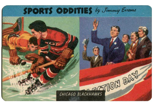 1954 Quaker Oats Sports Oddities card #10 - Chicago Blackhawks