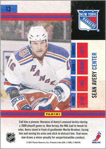 2010-11 Panini Playoff Contenders card #13 – Sean Avery