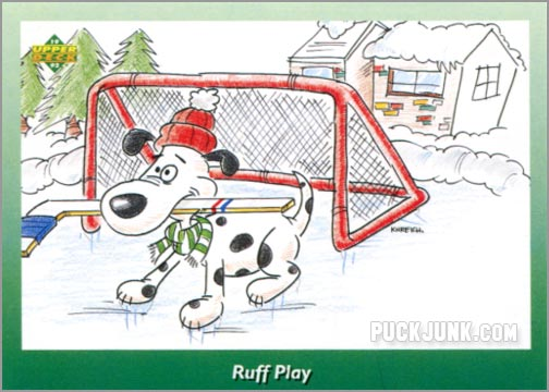 1992 Upper Deck Christmas card #8 of 10 - Ruff Play