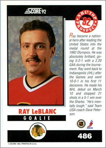 1992-93 Score American #486 - Ray Leblanc