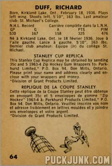 1963-64 Parkhurst #64 - Dick Duff (back)