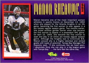 1993 Classic Superheroes #SS2 Manon Rheaume (back)
