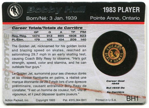 Action Packed Hockey Hall of Fame #BH1 - Bobby Hull (back)