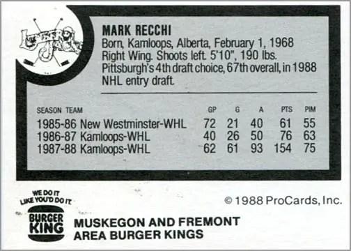 1988-89 ProCards AHL/IHL - Mark Recchi (back)