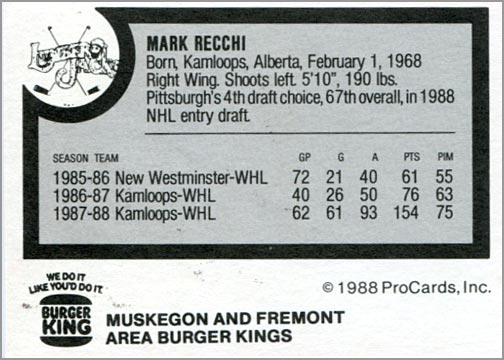 1988-89 ProCards AHL/IHL - Mark Recchi (back)