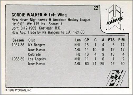 1989-90 Procards AHL/IHL #22 - Gordie Walker (back)
