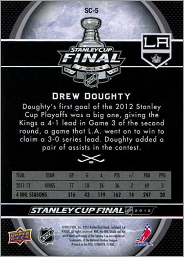 2011-12 L.A. Kings Stanley Cup Finals #5 - Drew Doughty (back)