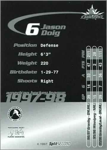 1997-987 Springfield Falcons - Jason Doig (back)