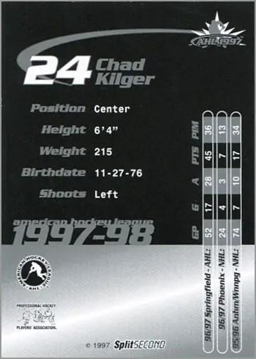 1997-987 Springfield Falcons - Chad Kilger (back)