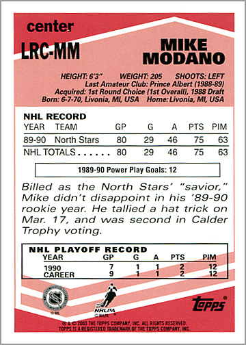 2003-04 Topps Lost Rookies #LRC-MM - Mike Modano (back)