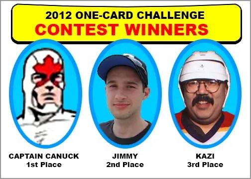 2012 One-Card Challenge Winners