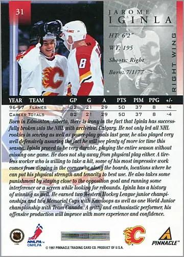 1997-98 Pinnacle #31 - Jarome Iginla (back)
