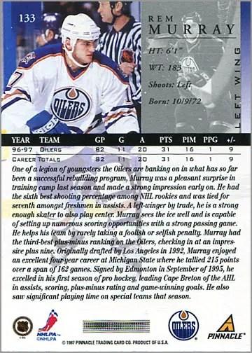 1997-98 Pinnacle #133 - Rem Murray (back)