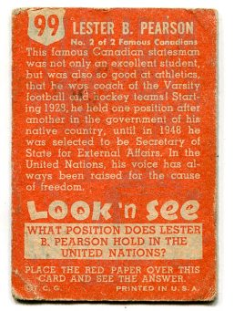 1952 Look N See #99 - Lester B. Pearson (back)