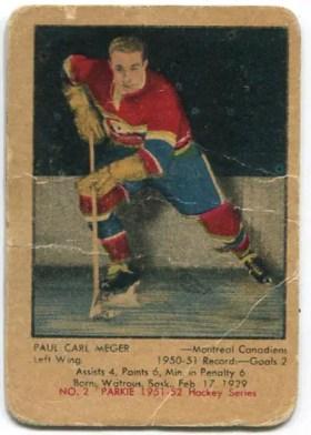 1951-52 Parkhurst #2 - Paul Meger