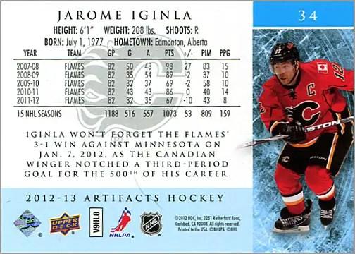2012-13 Artifacts card #34 - Jarome Iginla (back)