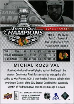 2013 Chicago Blackhawks Commemorative Box Set #18 - Michal Rozsival  (back)
