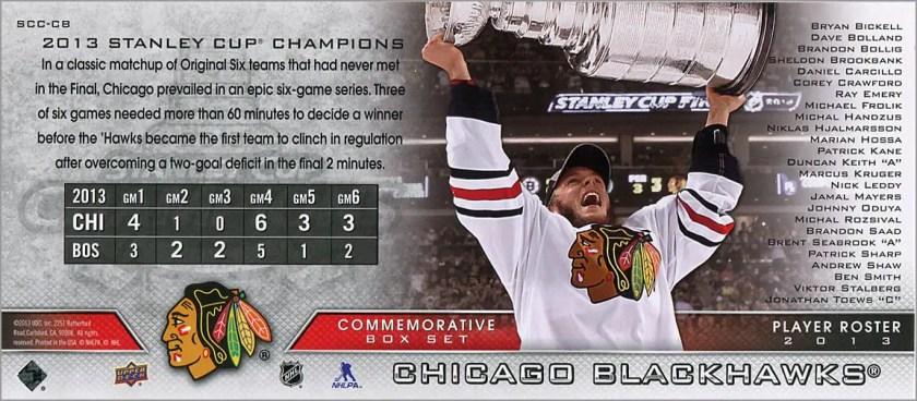 2013 Chicago Blackhawks Commemorative Box Set #SCC-CB - Chicago Blackhawks (back)