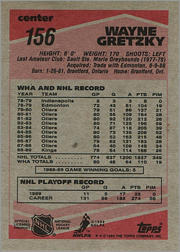 1989-90 Topps #156 - Wayne Gretzky (back)